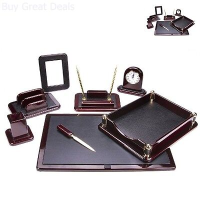 Office Set Supply Tray Pen Holder Executive Work Space Leather Desk Organizer