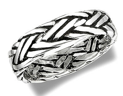 Sterling Silver Rope Band Ring Size 9.5