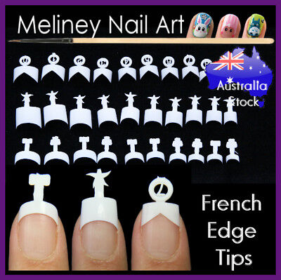 French Edge Tips White False Nails Gel Art Acrylic Short Mid V Shape Square Tip