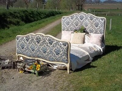 opulent french vintage louis xv revival double bedstead beautiful fabric