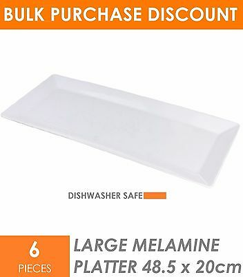 6 x Large Melamine Serving Platter 48 x 20cm White Serving Tray Catering Tray