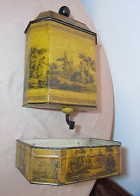 antique 1800s stenciled 3 piece stenciled tole metal wall water lavabo hand wash