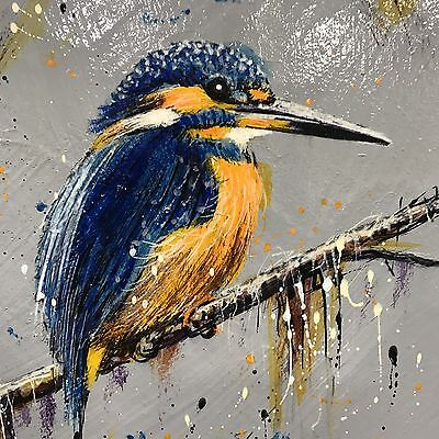 """Ruby Keller Original Oil """"kingfisher On A Welsh Riverbank"""" New Painting £375"""