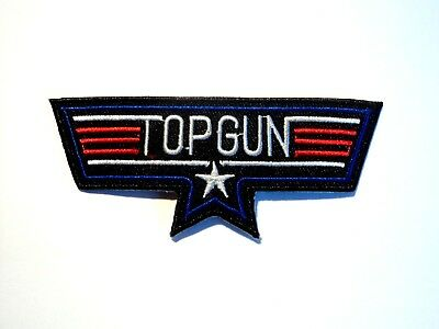 1x Top Gun Biker Patches Embroidered Cloth Patch Applique Badge Iron Sew On