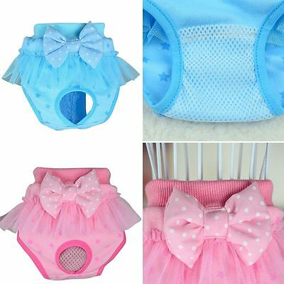 Pet Female Dog Bowknot Knickers Pants Puppy Cotton Blend Sanitary Briefs Nappies