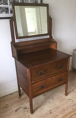 Antique Vintage Oak Dressing Table with Mirror