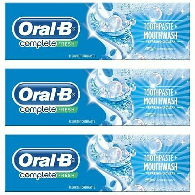 3x Oral-B Complete Pro Toothpaste & Mouthwash 2-in-1 Refreshing Peppermint 100ml