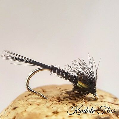 Red Holo Cheek Black Crunchers size 10 Set of 3 Fly Fishing Flies Trout