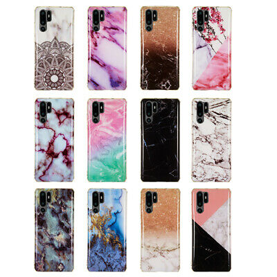 Granite Marble Pattern Slim Soft TPU Back Case Cover For Huawei P8 P9 P10 Lite