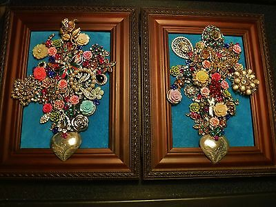 Jewelry Art Double Frame, Double Bouquets, signed by Artist