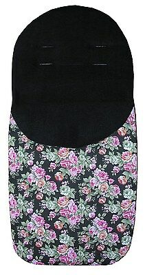 Roses on Black Universal Style Footmuff Cosytoes