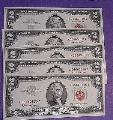 1963 $2 5 Consecutive Two Dollar Bill Red Seal US Note Sequential