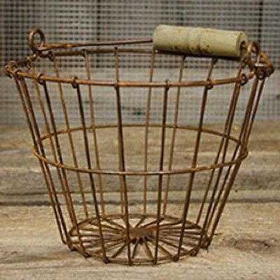 Rusty Wire Egg Basket w/Wood Handle Vintage Country Farmhouse style