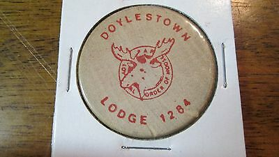 Vintage Wooden Nickel - Order of the Moose Lodge 1284 Doylestown - 1 FREE Drink