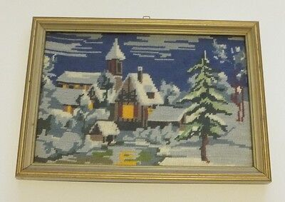 Completed Framed tapestry European village winter snow under glass completed