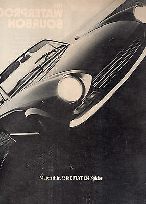 1960's-70's FIAT 124 SPIDER CAR FULL PAGE MAGAZINE AD-IN PLASTIC SLEEVE-VINTAGE