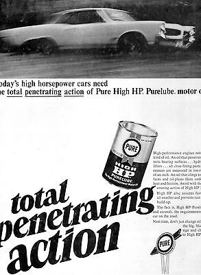 Pure Motor Oil Full Page Magazine Ad-In Plastic Sleeve-Vintage