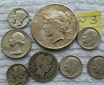 US 90% Silver Coins, $2.00 Face value, Peace $, etc. Nice Junk Lot W3