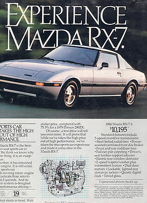 1984 Mazda Rx-7 Car Full Page Magazine Ad-In Plastic Sleeve-Vintage
