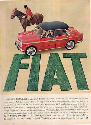 Fiat Series 1200 Car Full Page Magazine Ad-In Plastic Sleeve-Vintage