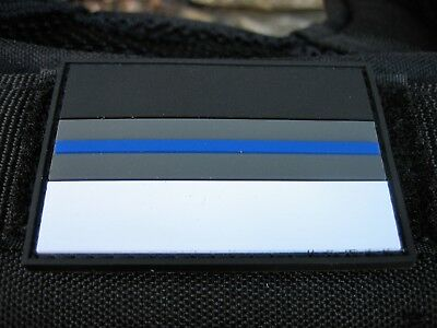 Klettpatch Rubberpatch ca. 6 x 4cm thin blue line Deutschland night camo Polizei