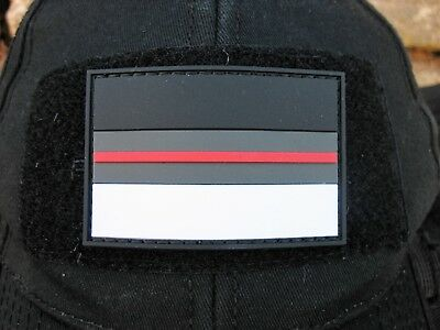 Klettpatch Rubberpatch ca. 6x4cm thin red line Deutschland night camo Feuerwehr