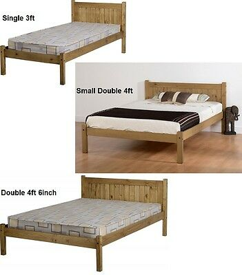Maya Distressed Wax Pine Wood Double Single Bed Frame - Free Next Day Delivery