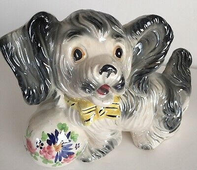 Vintage 1950's Ceramic Dog Hand painted