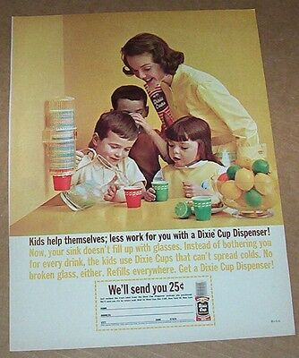 1962 print ad -Dixie Cups little Boy Girl Mom American Can Company vintage PAGE
