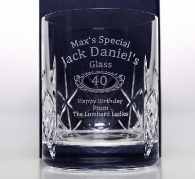 Personalised JACK DANIELS BIRTHDAY Crystal Glass Tumbler Gift 40th/50th/60th