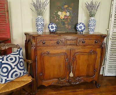 Antique French Country Louis XV Buffet Sideboard Server 2 Door Carved Oak