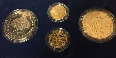1987 US Constitution 4 coin Commemorative Set 2 silver dollars and 2 gold $5