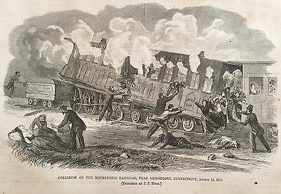1865  Illustrated newspaper HOUSATONIC RAILROAD CRASH Kills 8 Bridgeport Conn
