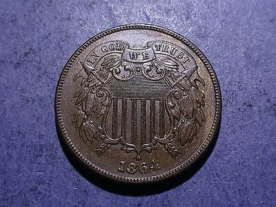 1864 Large Motto Two Cent Ch. BU repunched date
