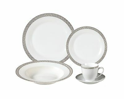 Lorren Home Trends Lorenzo Import Porcelain Dinnerware Set 24-Piece Service f...