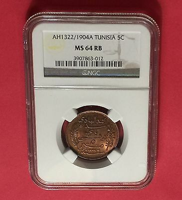 TUNISIA -AH1322/1904-A ,5 CENTIMES  NGC MS64 RB..rare
