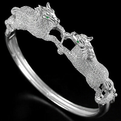 Sterling Silver 925 Genuine Lab Created Diamond 2 Stallion Horse Bangle 6.5 Inch