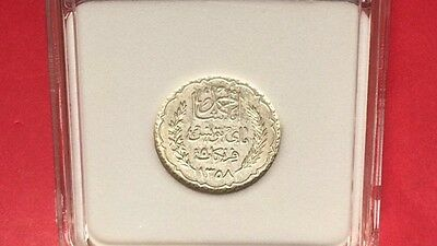 TUNISIA -UNCIRCULATED 1939 SILVER 5 FRANCS . very nice coin.