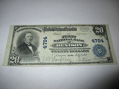 $20 1902 Denison Iowa IA National Currency Bank Note Bill! Ch. #4784 VF!  RARE!