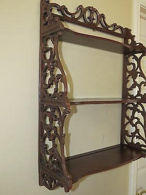 Antique Hand Carved Solid Wooden Victorian 3-Tier  Wall Hung Shelf