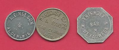 Lot of 3 Trade Tokens from Wisconsin                                       (WI1)