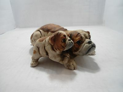 Bulldog Collectible;  Ceramic Bulldog Mother With Puppy Beside Her.