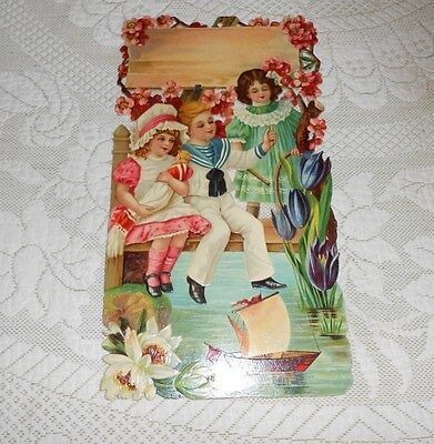 Large 1900 Victorian Embossed Die Cut Adv Sign Boy And Girls New Old Stock