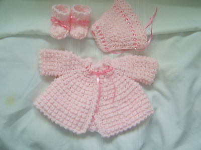 Hand crocheted  newborn baby pink sweater, hat & booties 0-3 months NEW! #709