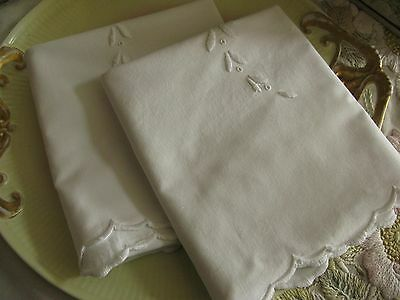 Pair Antique Cotton Hand Embroidered Padded Satin Stitch Pillowcases/shams!