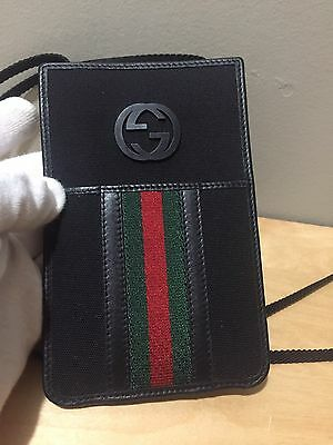 GUCCI GG Monogram Card Case Wallet ID Necklace Leather Canvas Black
