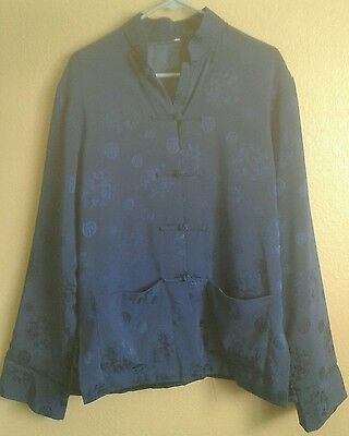 Mens Size LARGE Traditional Chinese CHEONGSAM Jacket -Dark Blue- Navy-Kung Fu