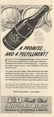 1942 G&D Private Stock California Wines CA 40s Print Ad Vintage Advertising MMXV