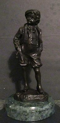 Rare Antique Bronze Statue Sculpture of a Sportsman Boy by Picciole Marble Base