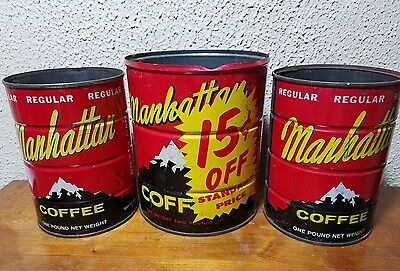 LOT OF 3 Manhattan coffee cans 2lb key can, 2-1lb cab tinsVINTAGE COFFEE DECOR